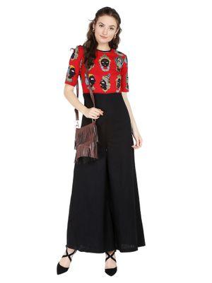 Desi Weavess Black and red Kathak Printed Jumpsuit