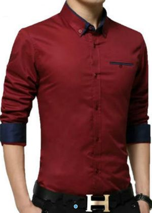 New Fancy Red Pure Cotton Partywear Shirt For Men