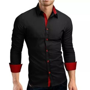 Red cuff and black color pure 100% cotton shirts for casual men