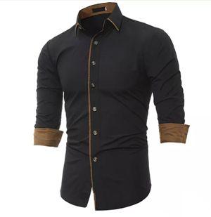 New Fancy Black Cotton men Formal Shirt