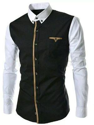 White And Black Pure Cotton New Fancy Men Party Shirt