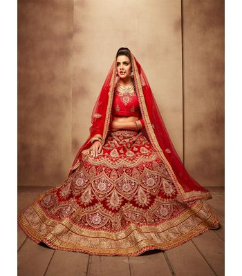 AASVAA  Stylish Red Embroide Lehenga Choli