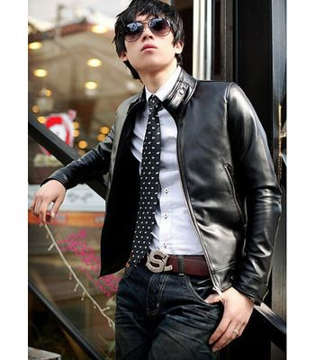 Italiano TUCCI Vintage Slim Fit Padding Style Designer Mens Semi Leather Jacket Black P08