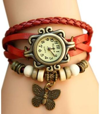 Felizer Red Bracelet With Leather Straps Watch - For Leadies