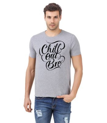 Round Neck Cotton Grey Mens Half Sleeve Printed T shirt 57