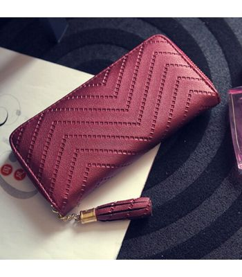 New Fashion Women Soft Rectangle Synthetic Leather Solid Clutch Wallets Winered Colored