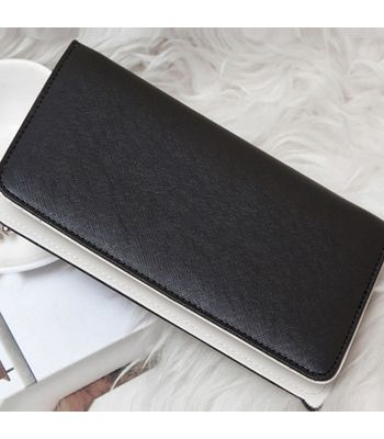 New Women Synthetic Leather Zipper Bag Quilted Clutch Long Wallet Purse Handbag Black Colored