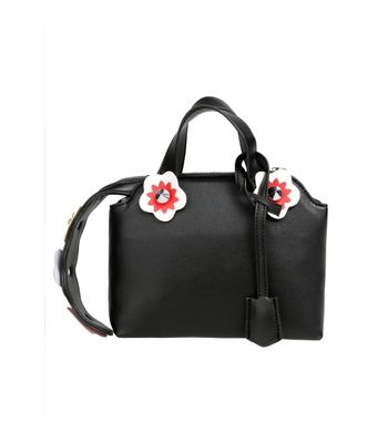 Women Vintage Style Synthetic Leather Flower Rivet Shoulder Bag Handbag Messenger Bag Black Colored