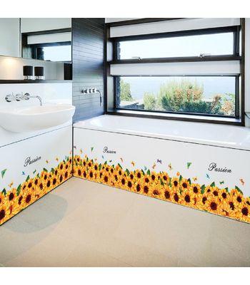 Jaamso Royals Sun Flower Skirting line   Wall Sticker PVC Vinyl 70 cm X 50 cm Decorative Stickers