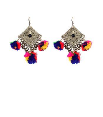 WATCH ME Banjara Boho pom Pom Trendy Fashionable Partywear Earrings Jhumki for Women Girls WMRPG-072