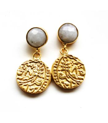 Vintage coin 12mm coin danglers with semi precious stone and 22kt gold palting vcc0130