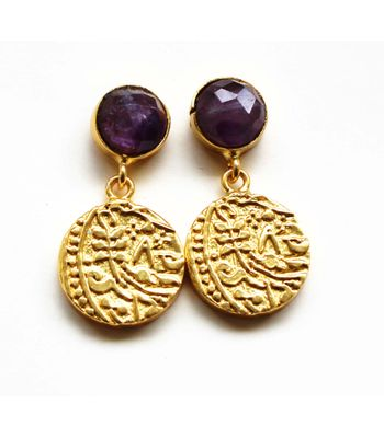 Vintage coin 12mm coin danglers with semi precious stone and 22kt gold palting vcc0127