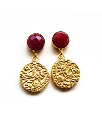 Vintage coin 12mm coin danglers with semi precious stone and 22kt gold palting vcc0128