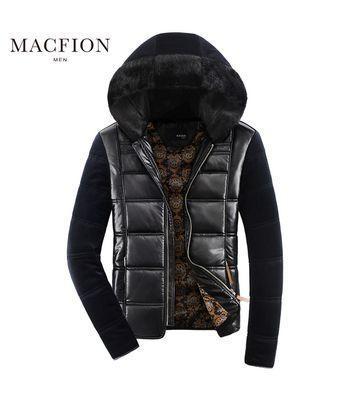 T06 - Macfion Branded Vintage Slim Fit Padding Style Designer Mens Semi Leather Jacket Hoodie Jacket