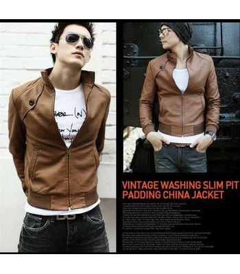 Italiano TUCCI Vintage Slim Fit Padding Style Designer Mens Semi Leather Jacket TAN Color P07