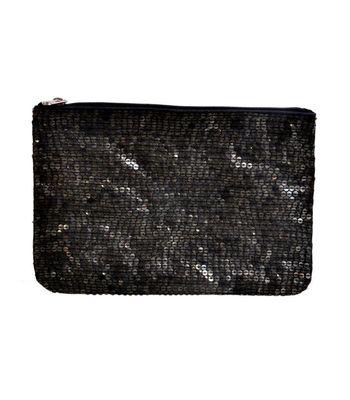 Diwaah Black sequence zip top pouch