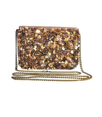 Diwaah Golden Embroidered Across Body Bag