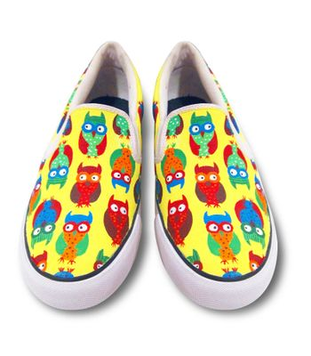 Owl Yellow Pattern  Rainbow colour slipon canvas shoes casual shoe loafer shoes printed handpainted shoes