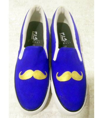 Mustach Blue canvas shoes casual shoe loafer shoes printed handpainted shoes