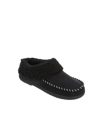 Feelinwow Microsuede Clog Slipper with Deep Cuff Black