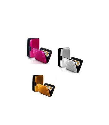 Pursho Combo of Aluminium Credit Card Holder Set of 3 GoldenSilverPink