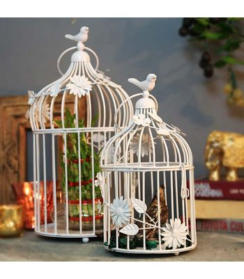White Bird Cage with Floral Vine Set of 2