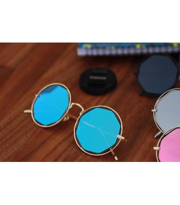 Stylish looking  Sky Blue And Gold Sunglasses for men