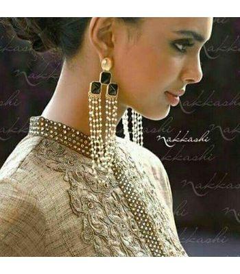 Trendy Tripple Black Stone Elegant Earring - Handmade
