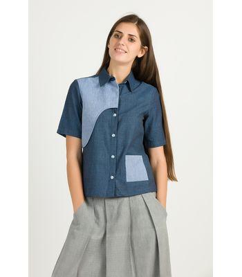 Blue Khadi Flap Shirt
