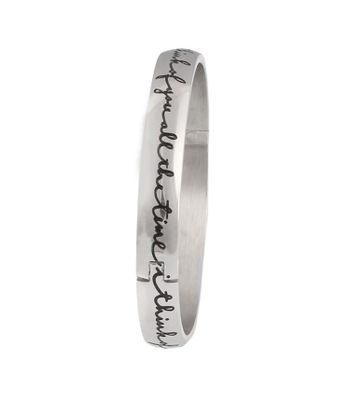 Sarvada Arts Silver Plated Bracelet With Stylish Font Quote
