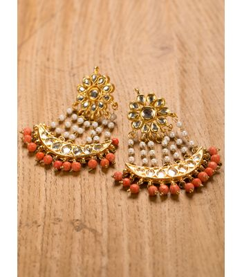 22 Carat Gold Plated Coral Earring