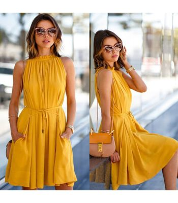 Glambing yellow designer crepe dress for women