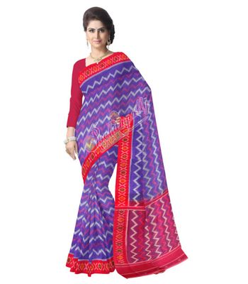 Pochampally Cotton Saree Blue Color