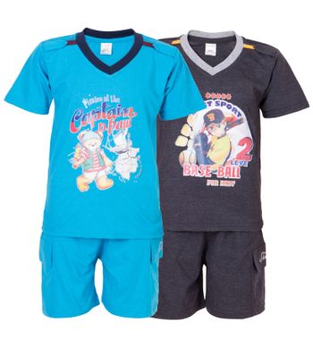 Ultrafit Junior Boys Cotton MultiColored Twin Sets- Pack of 2222
