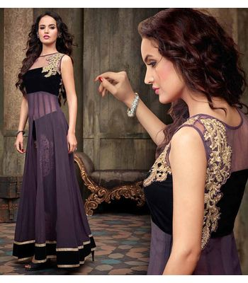 Amazing Hot Purple And Black Georgette Embroidered With Long Anarkali Suit