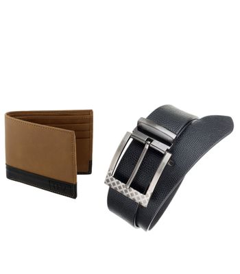 The Blue Pink Special Combo of 2 in1 Rich Pu Leather Wallet And Genuine Leather Belt GAR02-DINO0801