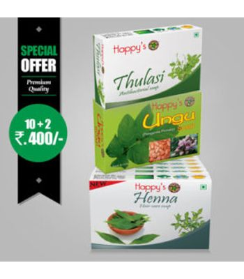 Happys Henna Soap Pay for 10 Get 12 Combo Offer
