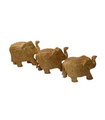 Craftofy Caparison Carved Elephant Set Of 3