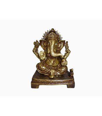 Craftofy Metallic Ganesha Idol With Crown