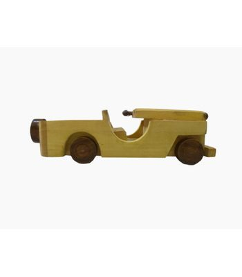 Craftofy Roofless Wooden Cream Colored Jeep With Wheels