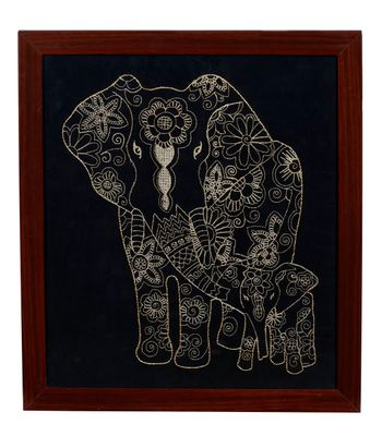 P K Gold Threaded Embroidery Collection - Adorable Baby Elephant Calf with Parent Framed