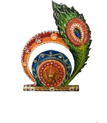 Bansuri peacock feather key stand made by wooden and paper mache art with Kundan