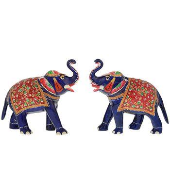 Kamakshi Art Metal Meenakari South Indian Elephant Pair Set
