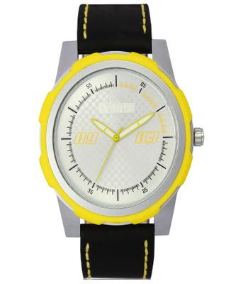 The Shopoholic Analog Yellow-White Dial Black Leather Belt Watches For Boys-Men Watch