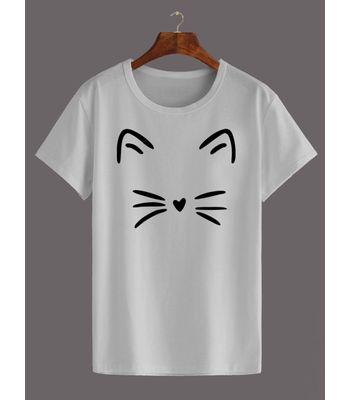 Womens Cotton T Shirt - Meow White