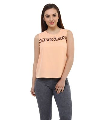 Women Peach Embellished Top