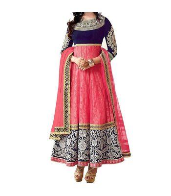 Chariot Ethics Presents designer pink color velvet salwar suit