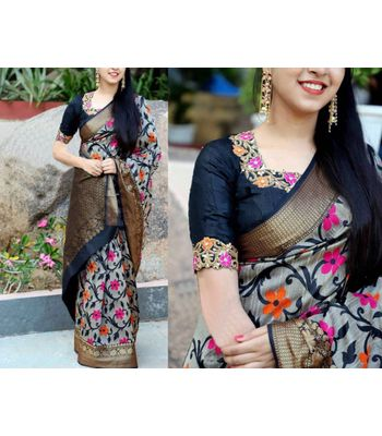 SRP Fashion Selection WomenSuper Stowberry silk printed designer Heavy Bhagalpuri Khadi Saree with printed  blouse
