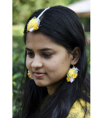 Handcrafted Yellow Floral Jewellery for Haldi