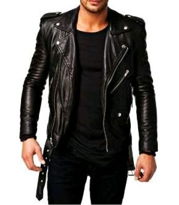 New Black Lambskin PU Leather Motor Biker Mens Jacket